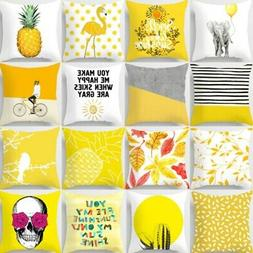 18'' Nordic Yellow Pillow Cases Polyester Throw Cushion Cove