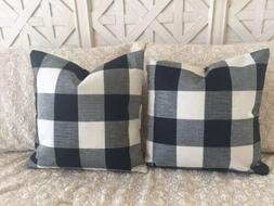 "2 Black Buffalo Check Pillow Covers Plaid Farmhouse 18"" Home"
