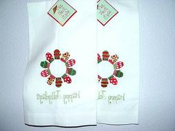 2 Guest Linen Towels Hem-Stitched HAPPY JOLLYDAYS Embroidere