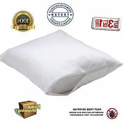 2 new white bed bug zippered pillow protectors pillow covers