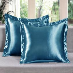 2 Piece Satin Euro Shams Solid Turquoise Cover Case Pillow A
