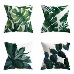 4Pcs Green leaf Linen Throw Pillows Cases for Couch Cushion