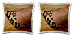 3dRose Animal Print Shoe-Pillow Case, 16 by 16""