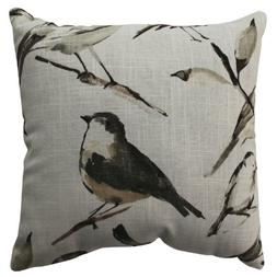 Pillow Perfect Bird Watcher Throw Pillow, 16.5-Inch, Charcoa