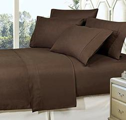 Brown Queen Size Bed Sheet Set 6-Piece Egyptian Cotton Deep