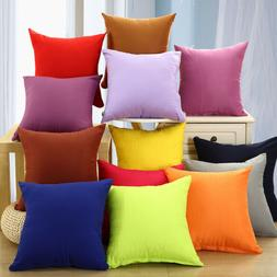 Solid Color Square Home Sofa Decor Pillow Cushion Cover Case