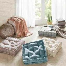 Chic Oversized Polyester Chenille Textured Square Floor Pill