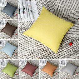 Decorative Cotton Linen Square Throw Pillow Cover Cases for
