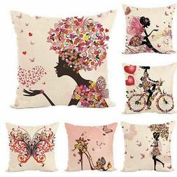 Decorative Throw Pillow Covers Flower Fairy Butterfly Design