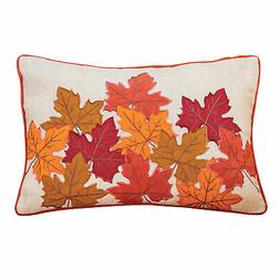 Embroidered Autumn Leaves Throw Pillow Fall Indoor Decoratio