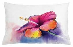 Ambesonne Flower Throw Pillow Cushion Cover, Hibiscus Flower