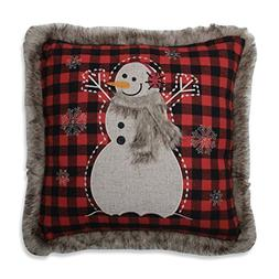 Pillow Perfect Fur Snowman Square Red/Black 18-inch Throw Pi
