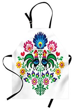 Lunarable Gallus Apron, Polish Pattern with Roosters Garden
