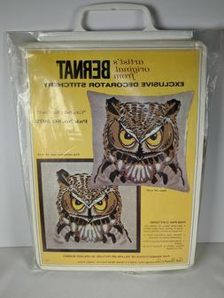 Bernat GRAND OLD OWL Linen Pillow or Picture Embroidery Kit