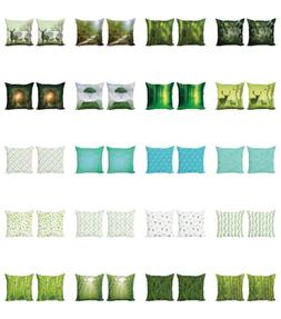 Ambesonne Green Cushion Cover Set of 2 for Couch and Bed in