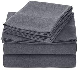 AmazonBasics Heather Jersey Sheet Set - Queen, Dark Gray