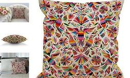 HGOD DESIGNS Mexican Design Colorful Pigeons Pheasant Pillow