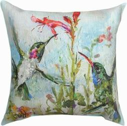 Home Decor TWO HUMMINGBIRDS PILLOW Polyester Climaweave Indo
