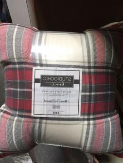 Studio Chic Home Decorative Pillows, 2 Pack, Sherpa/Red Plai