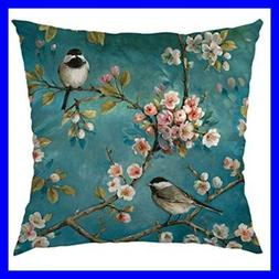 Hummingbirds Decorative Throw Pillow Cover Case W Two Bird D