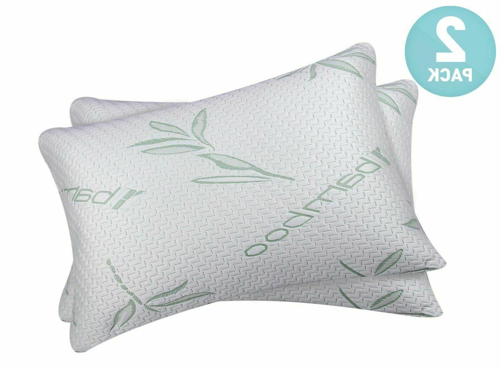 Bamboo Shredded Memory Foam Bed Pillows Hypoallergenic Cove