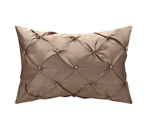 Alleta Patchwork Solid Block Embroidery Pintuck Pillows Set,