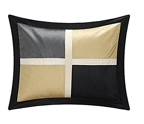 Chic Home Alleta Block with Embroidery And Pintuck Decorative Comforter Set, Black