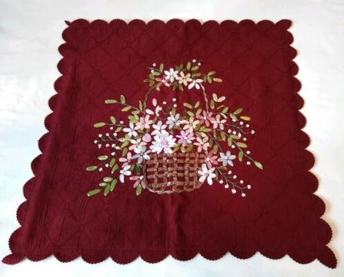 Collections Etc Burgundy Floral Basket 16X16