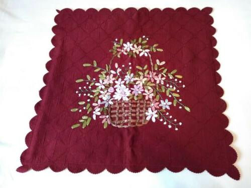 collections etc burgundy ribbon floral basket pillow