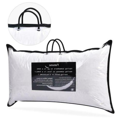 """2 x Down Bed Pillow Feather Goose Soft Pillows Cotton 18""""X26"""