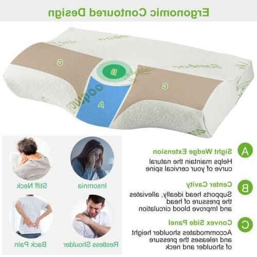 Orthopedic Memory Sleep Pillow Cervical Support Bamboo Cover