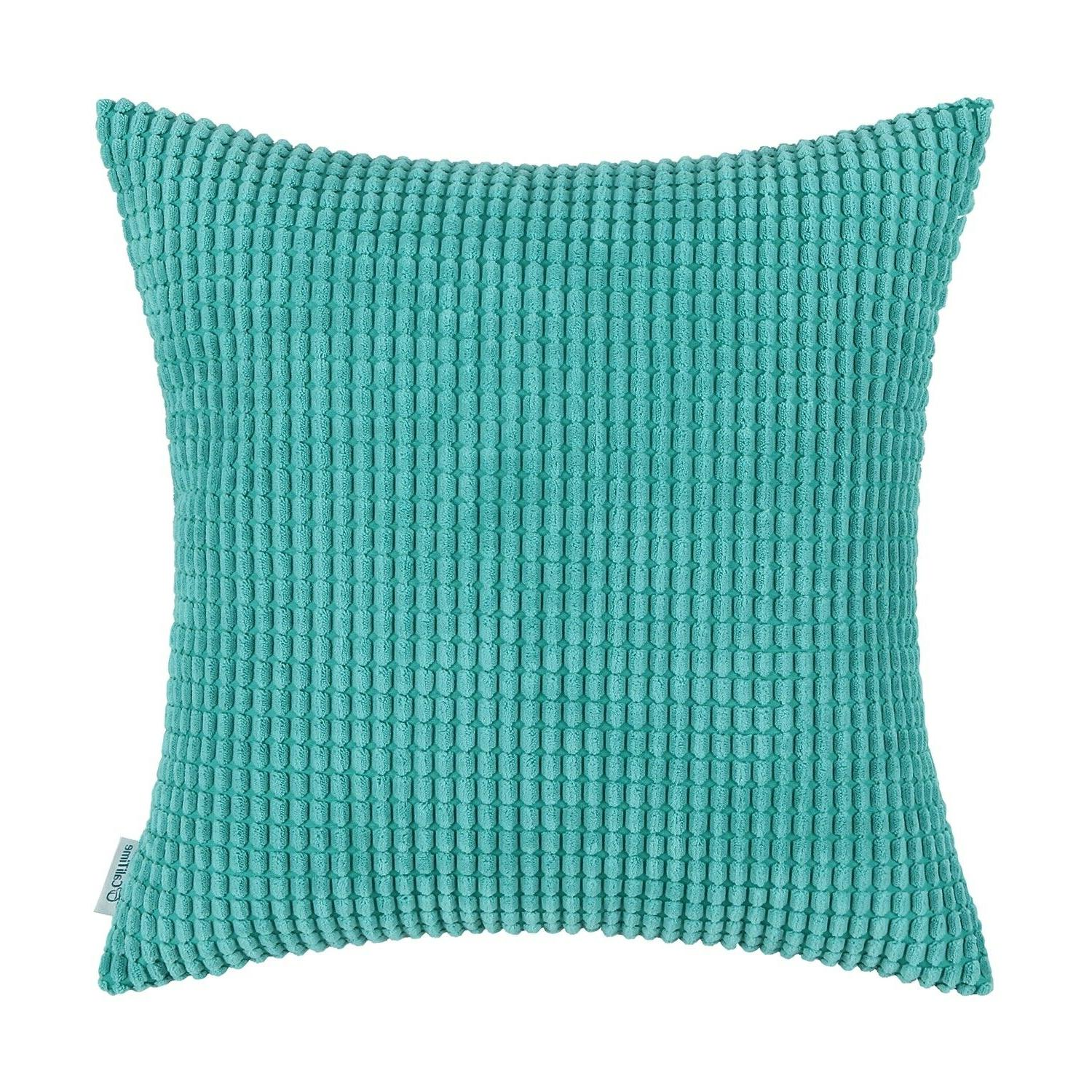 CaliTime Pillows Shells Cushion Covers Solid Soft Corduroy C