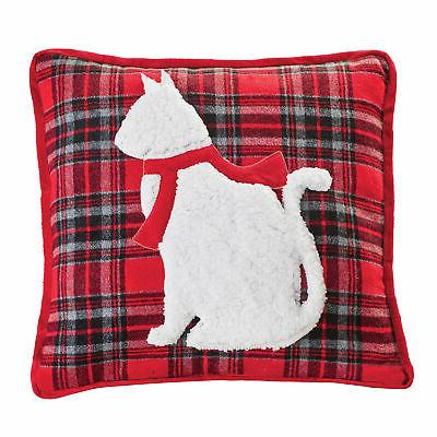 red and black plaid white cat accented