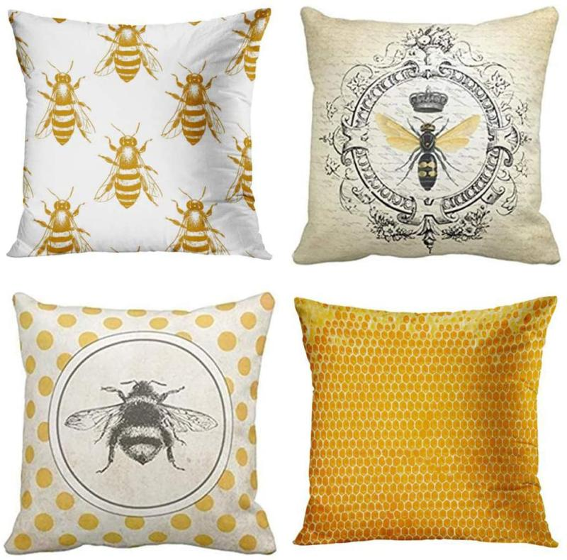 Emvency Set Of 4 Throw Pillow Covers Bee Honey Yellow Modern