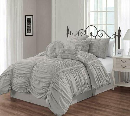 shabby chic ruched ruffle duvet cover set