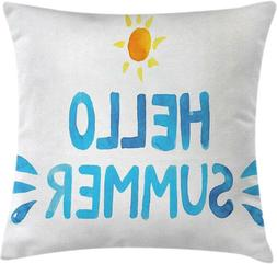 Ambesonne Lifestyle Throw Pillow Cushion Cover, Hello Summer