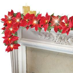Collections Etc Lighted Christmas Poinsettia Garland RED