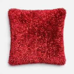 """Loloi 22"""" Square Polyester Blend Down Throw Pillow in Red"""