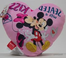 DISNEY MICKEY & MINNIE PINK HEART PILLOW SEALED WITH A KISS!
