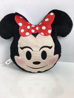 """Disney Minnie Mouse Emoji Plush Pillow 14"""" Wide With Ears"""