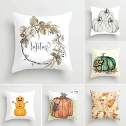 NEW Fall Halloween Pumpkin Pillow Case Waist Throw Cushion C