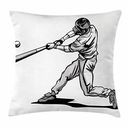 Lunarable Nursery Throw Pillow Cushion Cover, Baseball Hitte