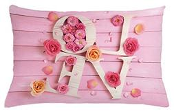 Lunarable Pale Pink Throw Pillow Cushion Cover, Wooden Love