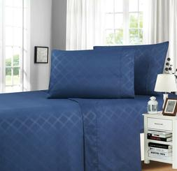 Elegant Comfort Plaid Embossed Collection 4-Piece Bed Sheet
