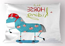 Lunarable Quirky Pillow Sham, Horse Character on Skateboard