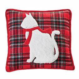 Collections Etc Red and Black Plaid White Cat Accented Throw