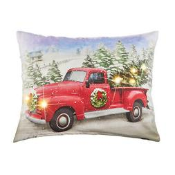 Collections Etc Red Truck Lighted Holiday Throw Pillow