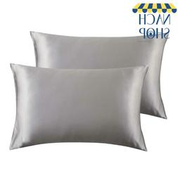 Bedsure Satin King Size Pillow Cases Set Of 2, Silver Grey,