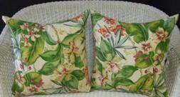 """Set of 2 Square 20"""" Throw Pillows-Pink Green Cream Tropical"""