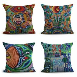 set of 4 accents home furniture Mexican Huichol art cushion